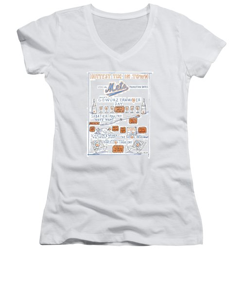 Hottest Tix In Town Special Mets Promotion Dates Women's V-Neck