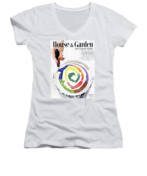 House & Garden Cover Of A Woman's Hand Stirring Women's V-Neck
