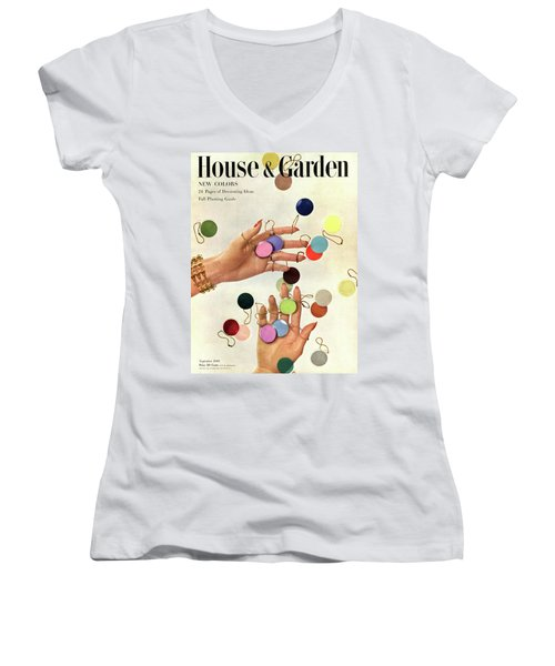 House & Garden Cover Of Woman's Hands With An Women's V-Neck