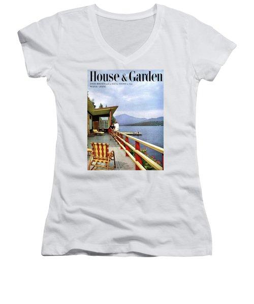 House & Garden Cover Of Women Sitting On The Deck Women's V-Neck