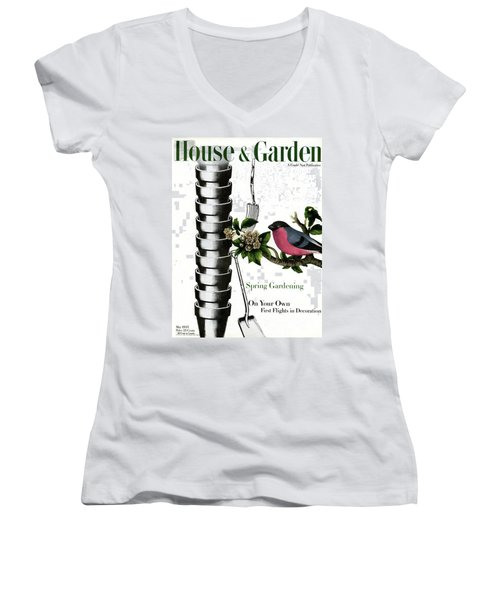 House And Garden Cover Featuring Pots And A Bird Women's V-Neck