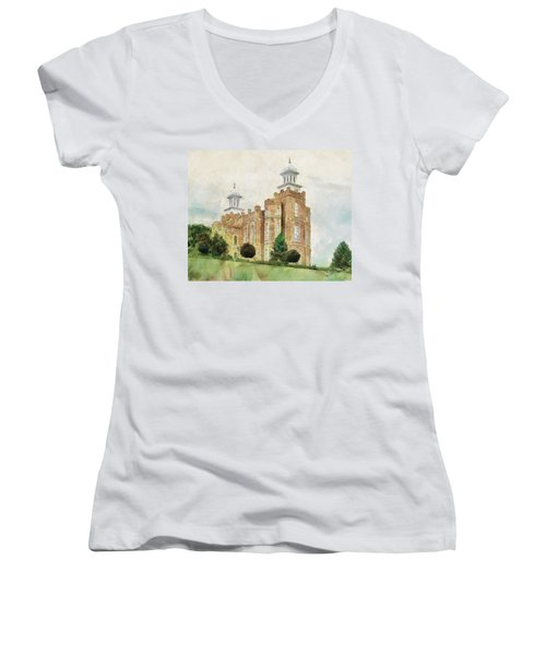 Women's V-Neck T-Shirt (Junior Cut) featuring the painting House Of Defense by Greg Collins