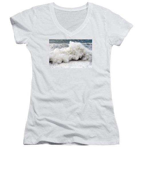Huge Wave Women's V-Neck T-Shirt (Junior Cut) by Antonio Scarpi
