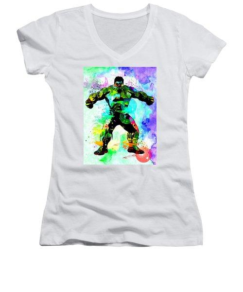 Hulk Watercolor Women's V-Neck T-Shirt (Junior Cut)