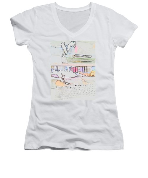 Women's V-Neck T-Shirt (Junior Cut) featuring the photograph Human Technology by Fortunate Findings Shirley Dickerson
