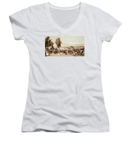 Hyde Park, Towards The Grosvenor Gate Women's V-Neck T-Shirt (Junior Cut) by Thomas Shotter Boys