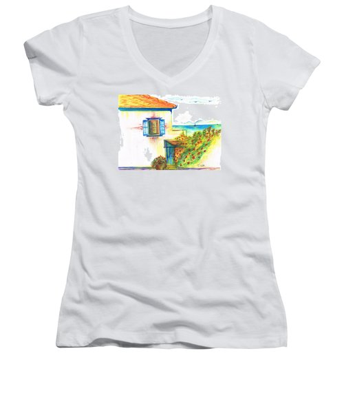 Women's V-Neck T-Shirt (Junior Cut) featuring the painting Greek Island Hydra- Home by Teresa White