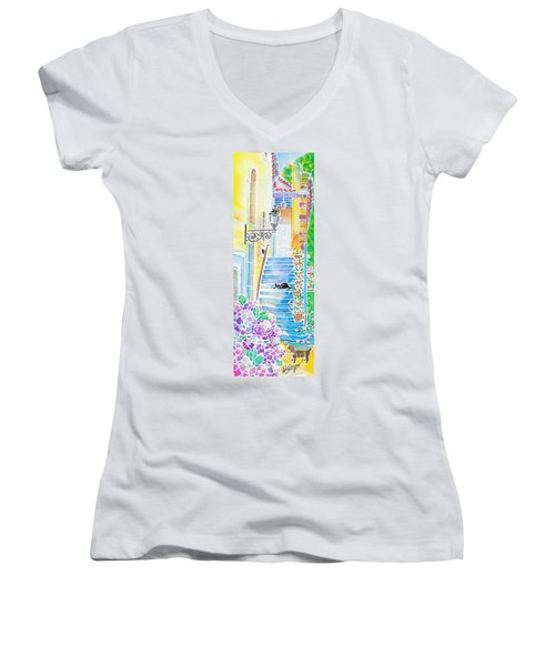 Hydrangeas And The Hotel Women's V-Neck
