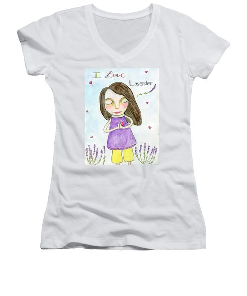 I Love Lavender Women's V-Neck (Athletic Fit)