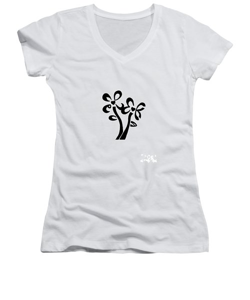 Women's V-Neck T-Shirt (Junior Cut) featuring the drawing I Love You Flowers by Tamir Barkan
