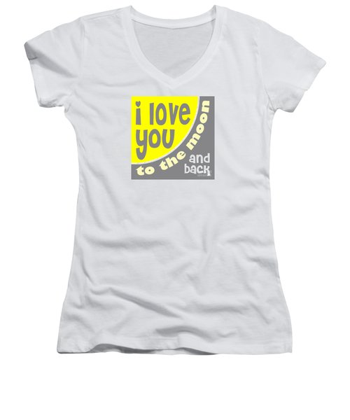 I Love You To The Moon Women's V-Neck T-Shirt (Junior Cut) by Ginny Gaura