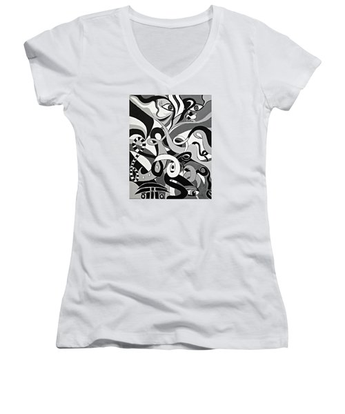Black And White Acrylic Painting Original Abstract Artwork Eye Art  Women's V-Neck