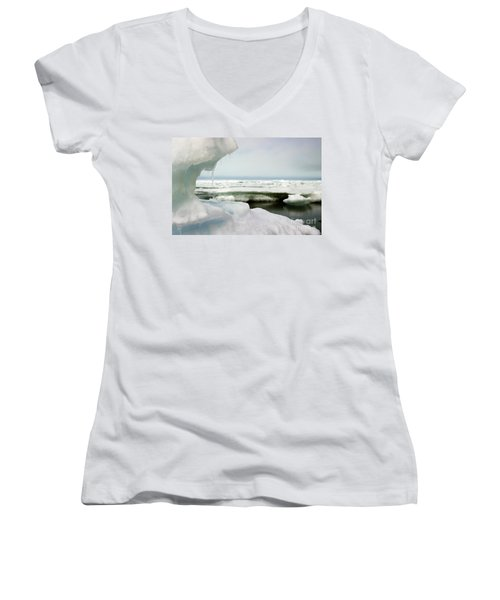 Women's V-Neck T-Shirt (Junior Cut) featuring the photograph Ice Barrow Alaska July 1969 By Mr. Pat Hathaway by California Views Mr Pat Hathaway Archives