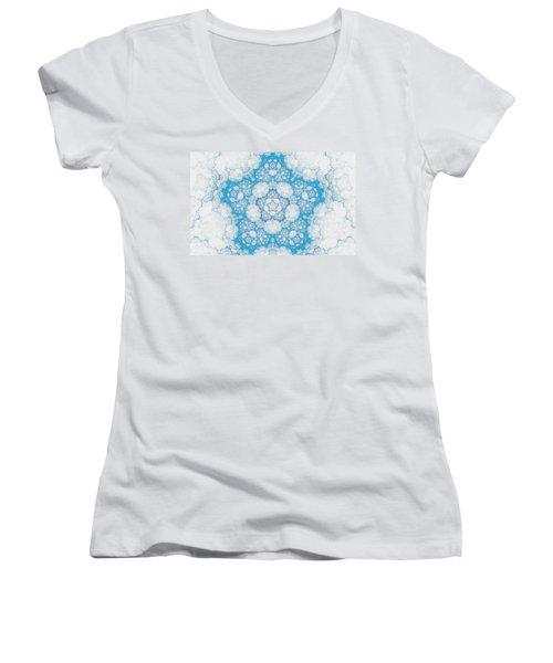 Women's V-Neck T-Shirt (Junior Cut) featuring the digital art Ice Crystals by GJ Blackman