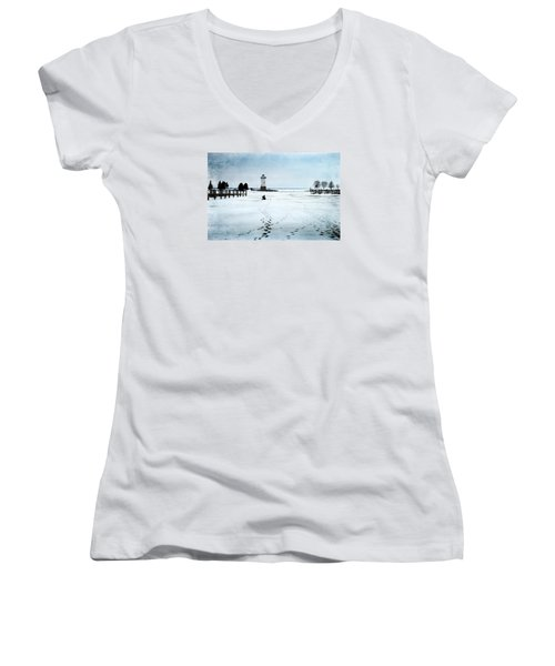 Ice Fishing Solitude 2 Women's V-Neck T-Shirt (Junior Cut) by Janice Adomeit