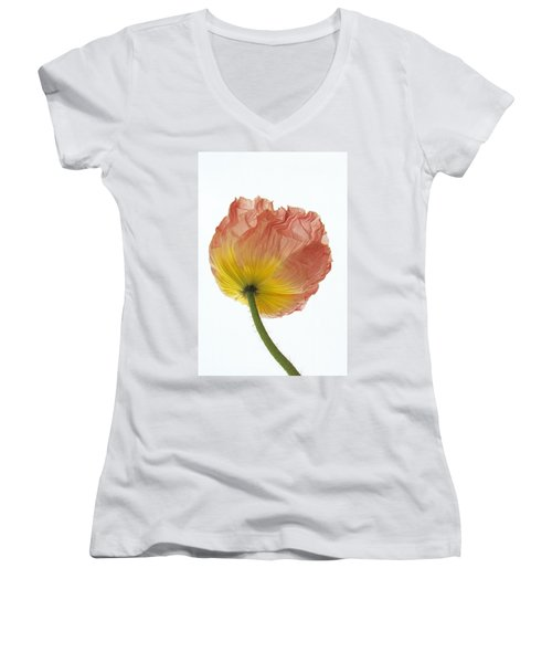 Iceland Poppy 1 Women's V-Neck T-Shirt (Junior Cut) by Susan Rovira