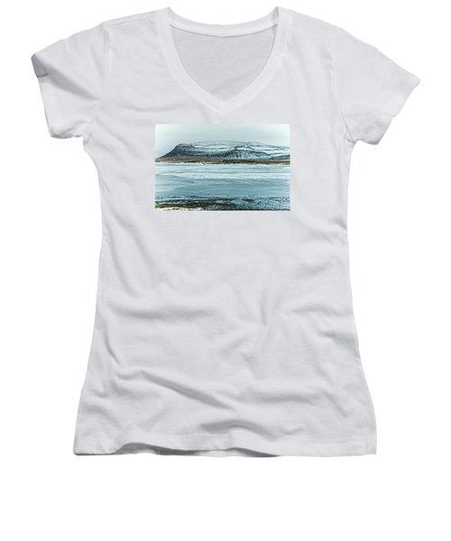 Icelandic Winter Landscape Women's V-Neck T-Shirt