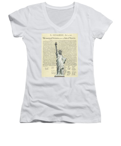 Icon Of Freedom Women's V-Neck T-Shirt (Junior Cut) by Charles Beeler