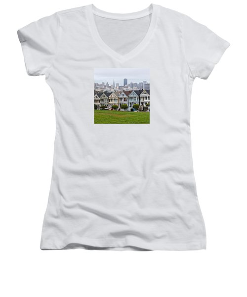 Iconic Painted Ladies Women's V-Neck (Athletic Fit)
