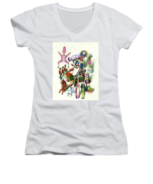 Illustration Of A Group Of Children's Toys Women's V-Neck