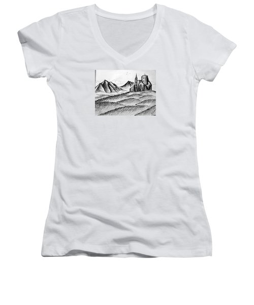 Women's V-Neck T-Shirt (Junior Cut) featuring the painting Imagination by Salman Ravish