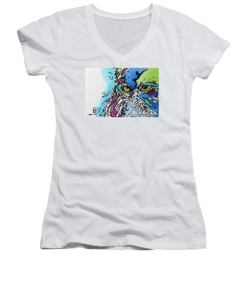 Women's V-Neck T-Shirt (Junior Cut) featuring the painting Immutable by Nicole Gaitan