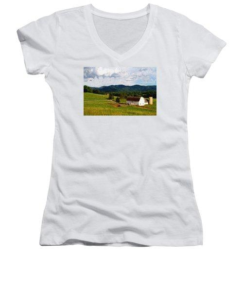 Women's V-Neck T-Shirt (Junior Cut) featuring the painting Impressionist Farming by John Haldane