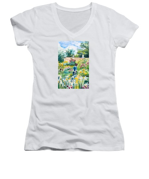 In An English Cottage Garden Women's V-Neck (Athletic Fit)