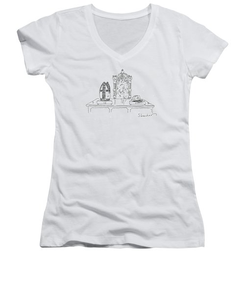 In And Out Boxes With Pope's Mitre And Yankees Cap Women's V-Neck