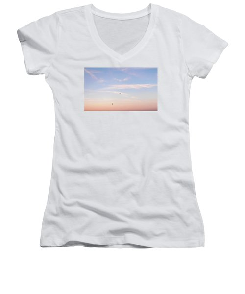 Women's V-Neck T-Shirt (Junior Cut) featuring the photograph In Flight Over Rehoboth Bay by Pamela Hyde Wilson
