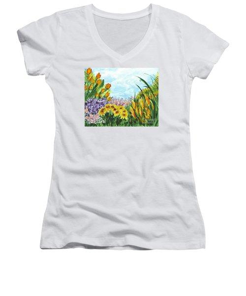 In My Garden Women's V-Neck T-Shirt (Junior Cut) by Holly Carmichael