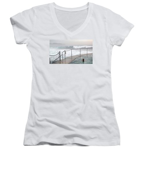 Women's V-Neck T-Shirt (Junior Cut) featuring the photograph In Safe Waters by Evelyn Tambour