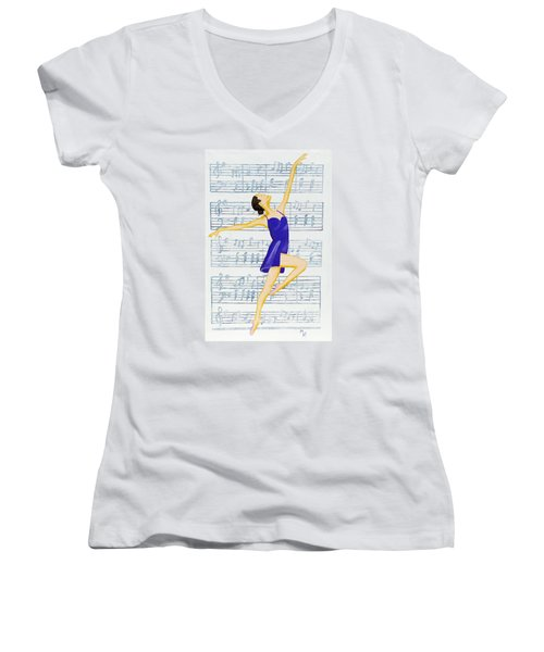 Women's V-Neck T-Shirt (Junior Cut) featuring the painting In Sync With The Music by Margaret Harmon