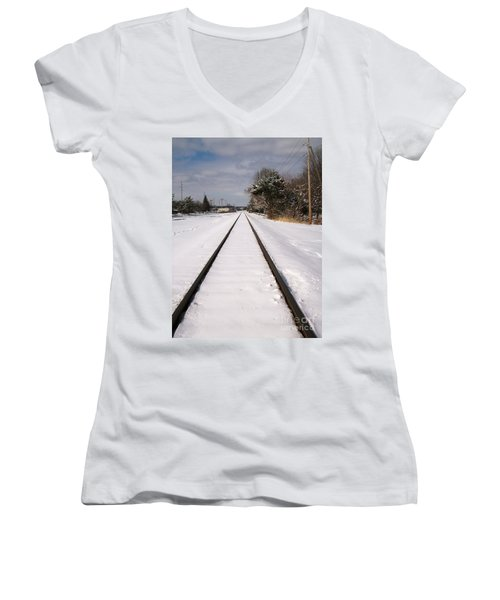Women's V-Neck T-Shirt (Junior Cut) featuring the photograph In The Distance by Sara  Raber