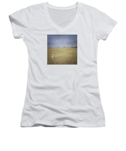 Women's V-Neck T-Shirt (Junior Cut) featuring the photograph In The Marsh  by Kerri Farley
