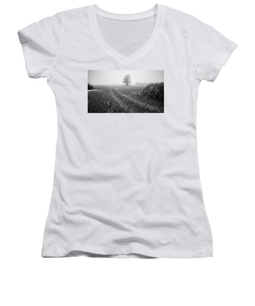 Women's V-Neck T-Shirt (Junior Cut) featuring the photograph In The Mist by Davorin Mance