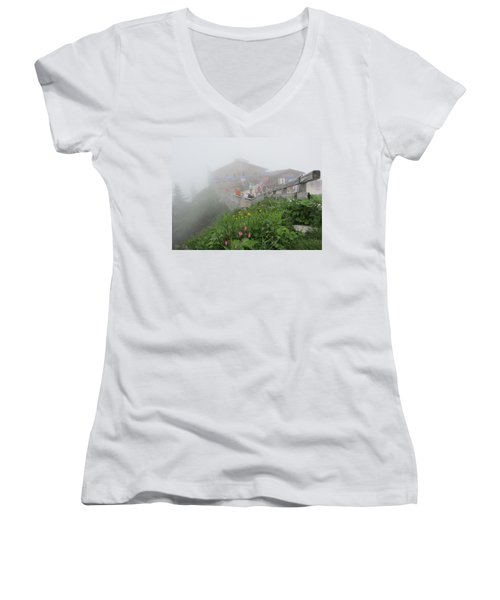 Women's V-Neck T-Shirt (Junior Cut) featuring the photograph In The Mist by Pema Hou