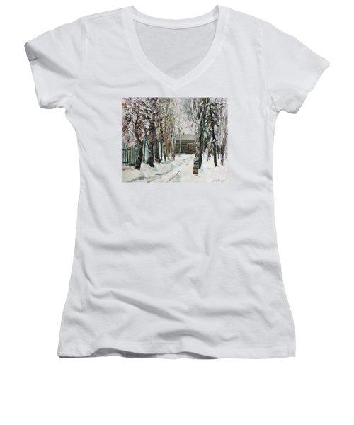 In The Snowy Silence Women's V-Neck T-Shirt