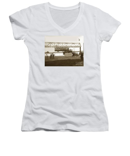 Women's V-Neck T-Shirt (Junior Cut) featuring the photograph Incredible Hanging Railway  1900 by California Views Mr Pat Hathaway Archives