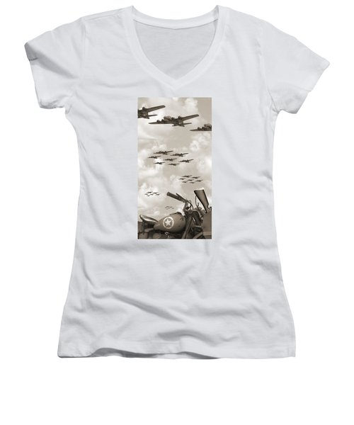Indian 841 And The B-17 Panoramic Sepia Women's V-Neck
