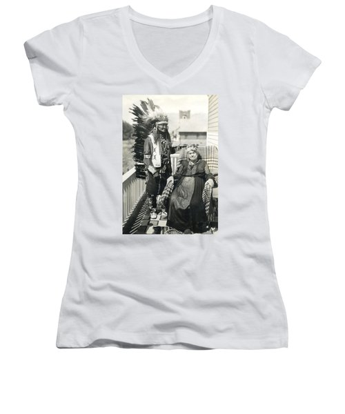 Women's V-Neck T-Shirt (Junior Cut) featuring the photograph Indian Chief And Woman by Charles Beeler