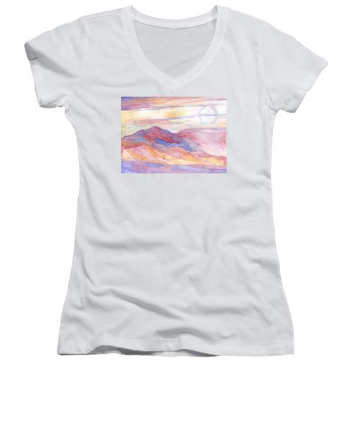 Indian Summer Sky Women's V-Neck (Athletic Fit)