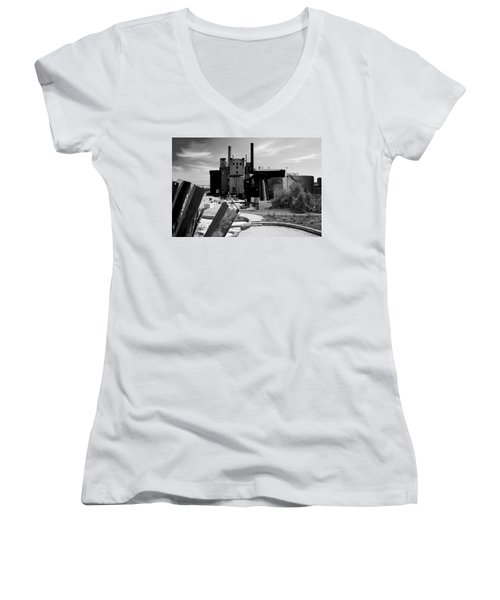 Industrial Power Plant Landscape Smokestacks Women's V-Neck