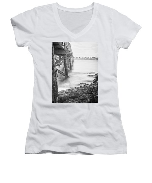 Women's V-Neck T-Shirt (Junior Cut) featuring the photograph Infrared View Of Stormy Waves At Stramsky Wharf by Jeff Folger