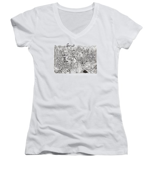 Inky Orchid Pond Women's V-Neck T-Shirt (Junior Cut) by Adria Trail