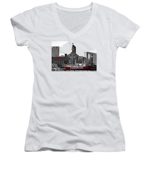 Inner Harbor Women's V-Neck T-Shirt (Junior Cut) by DJ Florek