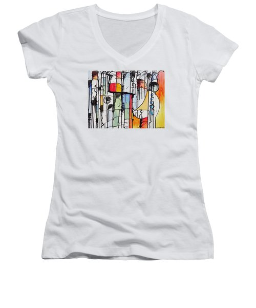 Internal Opposition Women's V-Neck T-Shirt (Junior Cut) by Jason Williamson