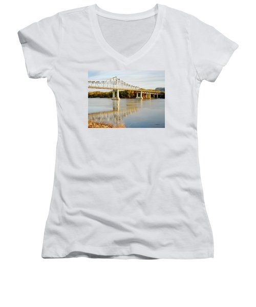 Interstate Bridge In Winona Women's V-Neck (Athletic Fit)