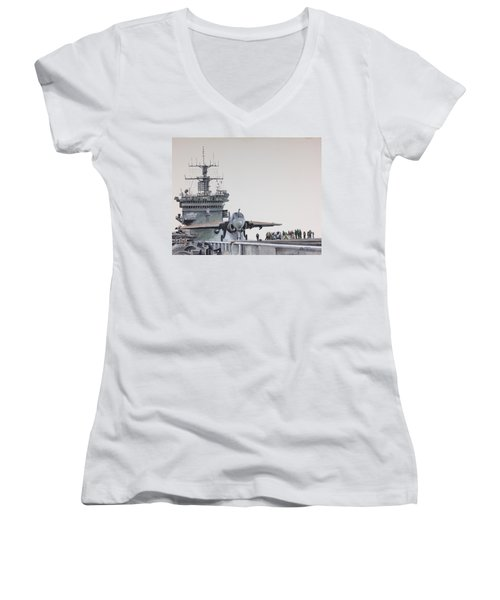 Intruder Women's V-Neck T-Shirt (Junior Cut) by Stan Tenney