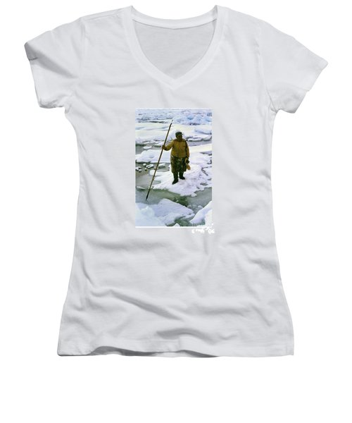 Women's V-Neck T-Shirt (Junior Cut) featuring the photograph Inuit Seal Hunter Barrow Alaska July 1969 by California Views Mr Pat Hathaway Archives